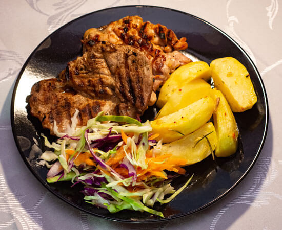 plate with pork and chicken